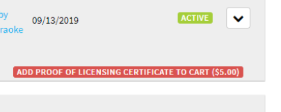 Add Proof of Licensing Certificate To Cart button
